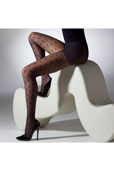 Gipsy Sheer Anchor Tights In Navy - Leggsbeautiful
