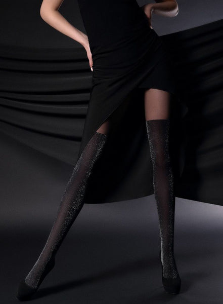 Giulia Gloss Up 60 Denier Lurex Shimmer Tights - Leggsbeautiful