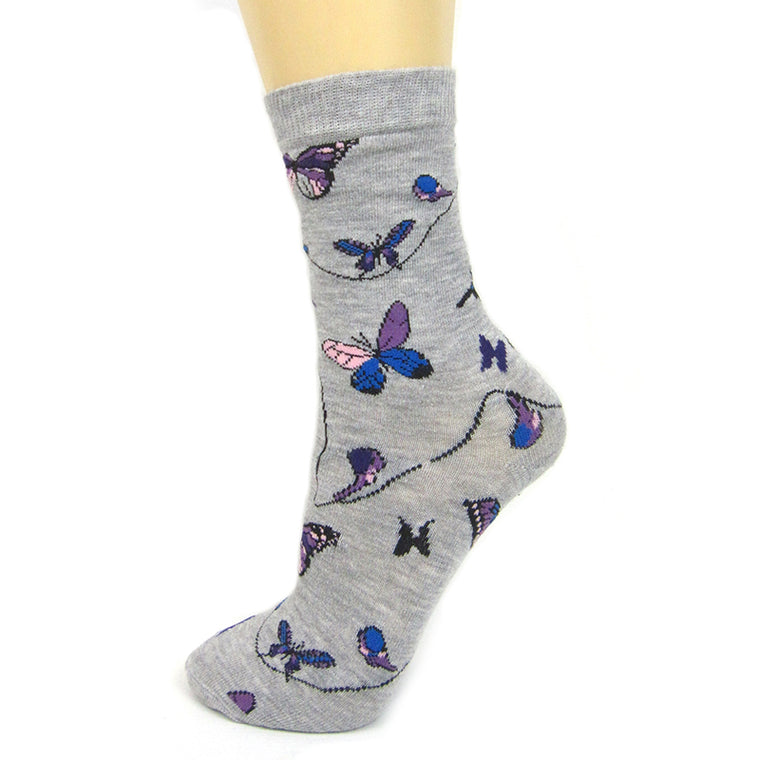 Cotton Blend Butterfly Ankle Socks