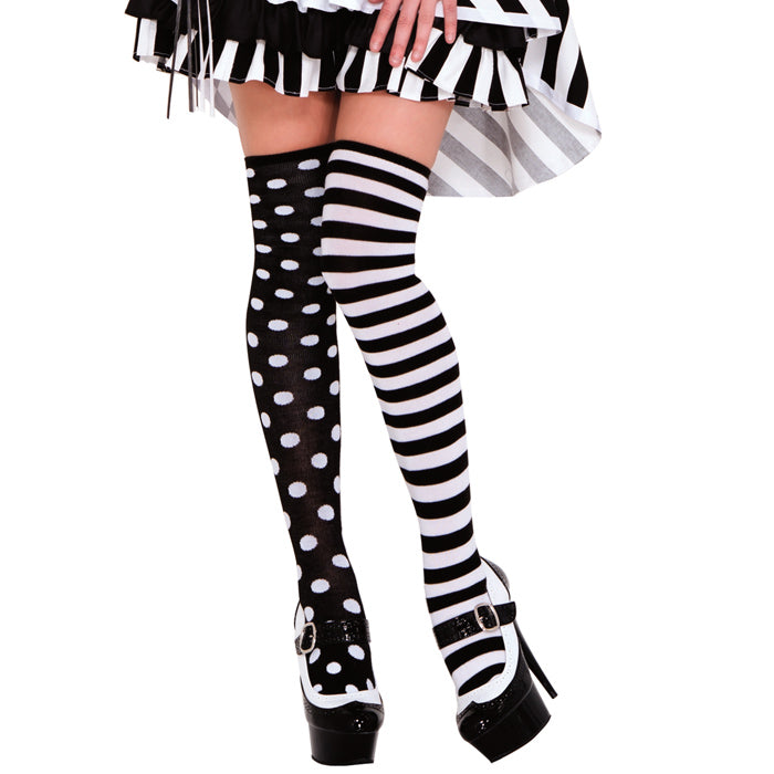Music Legs Polka Dot & Stripe Mismatch Knit Thigh High - Leggsbeautiful