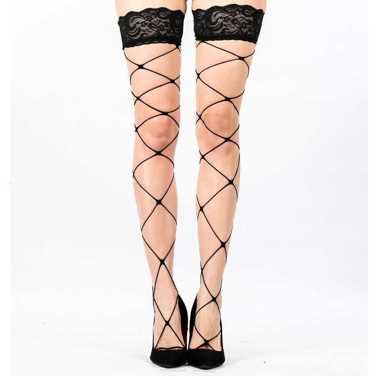 Lace Top Fence Net Fishnet Hold Ups With Silicone Bands