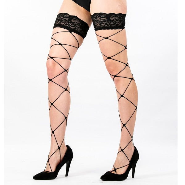 416c66160b2 Lace Top Fence Net Fishnet Hold Ups With Silicone Bands - Leggsbeautiful ...