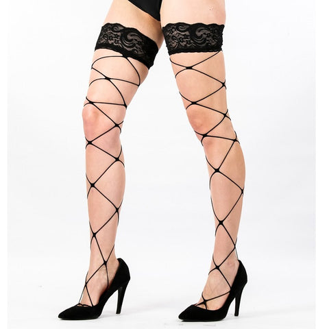 Lace Top Fence Net Fishnet Hold Ups With Silicone Bands - Leggsbeautiful