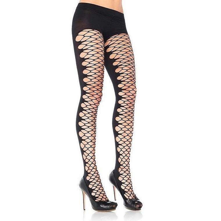 Leg Avenue Opaque Tights With Open Net Front - Leggsbeautiful