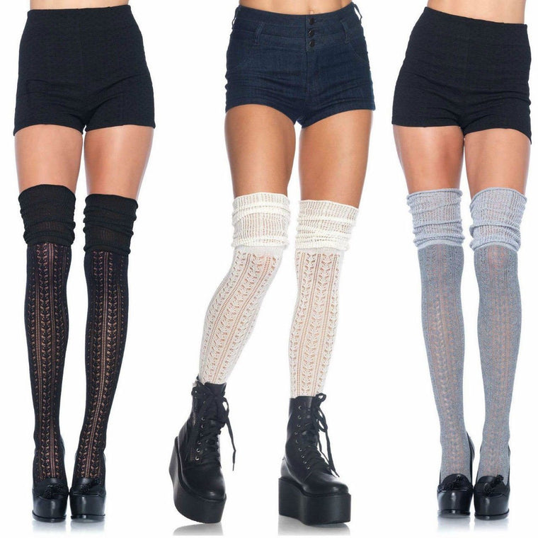 Music Legs Pointelle Slouchy Top Over The Knee Socks
