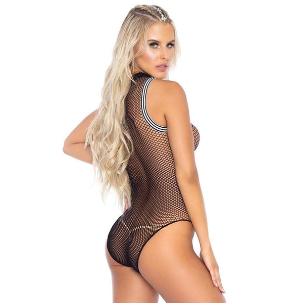 Leg Avenue Fishnet Zip Up Athletic Trim Bodysuit