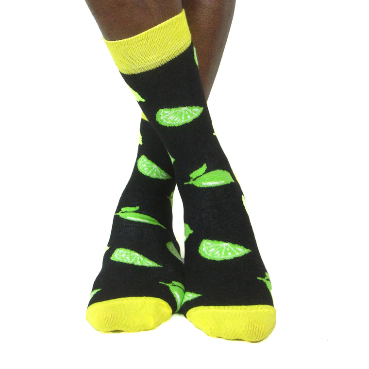 Luv Socks Men's Cotton Blend Lime Ankle Socks