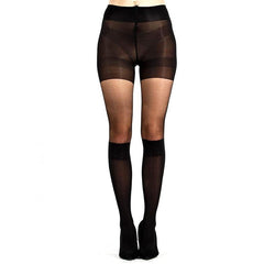 Leggsbeautiful Knee High Mock Stocking Tights With Pinched Pattern - Leggsbeautiful