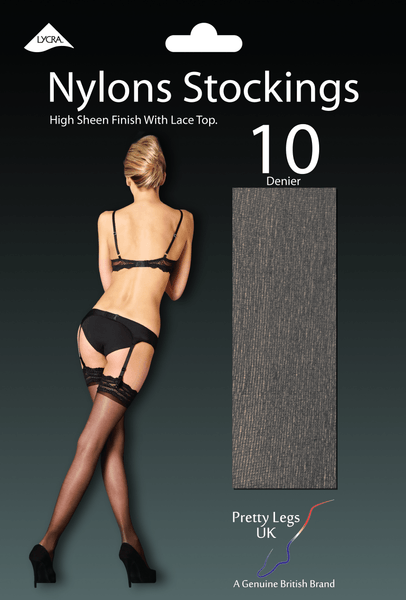 Pretty Legs Nylons Hi Sheen Luxury Lace Top Hold Ups - Leggsbeautiful