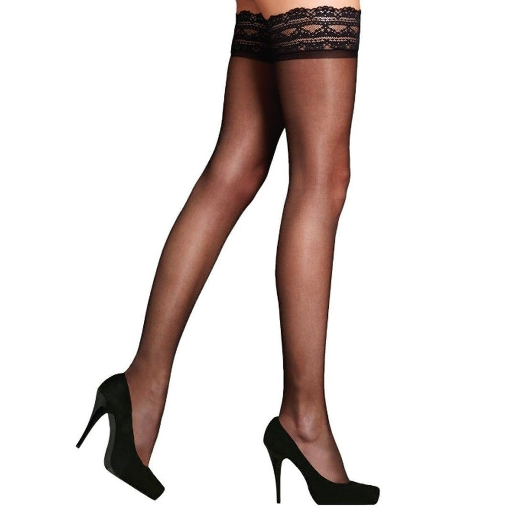 1e0a622001e Pretty Legs Super Shine Lace Top Hold Ups - Leggsbeautiful ...