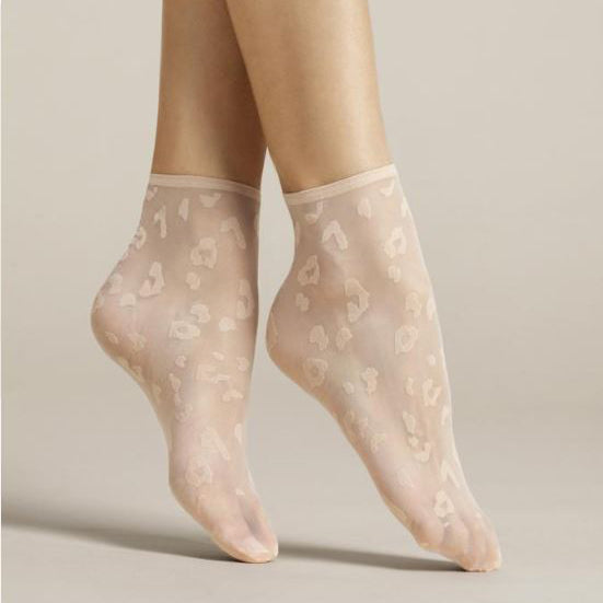 Fiore Doria Sheer Leopard Nylon Ankle Socks - Leggsbeautiful