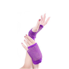 Silky Wrist Length Neon Stretch Fishnet Gloves - Leggsbeautiful
