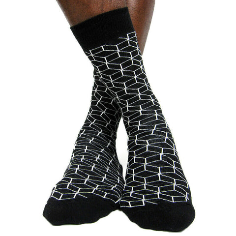Luv Socks Men's Cotton Blend Optical Cube Ankle Socks - Leggsbeautiful