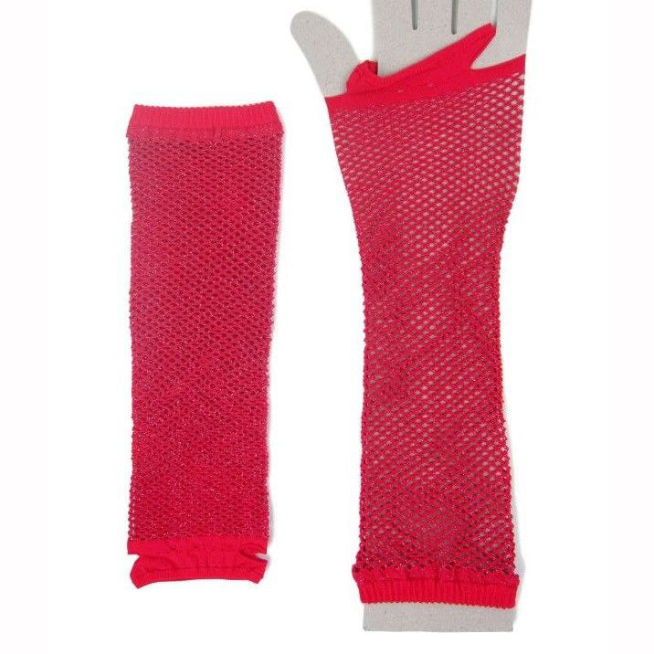 Classified Long Stretchy Lurex Fishnet Gloves