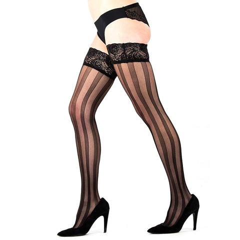 LB Rio Sheer Vertical Stripe Lace Top Hold Ups - Leggsbeautiful