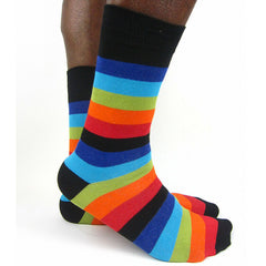 Luv Socks Men's Cotton Blend Striped Ankle Socks - Leggsbeautiful