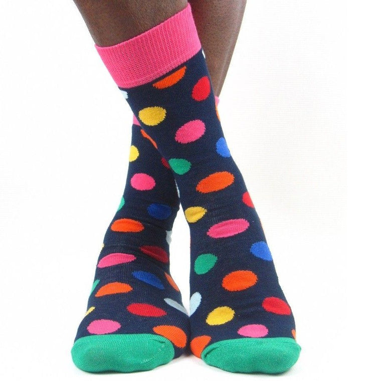 Luv Socks Men's Cotton Blend Big Spot Ankle Socks