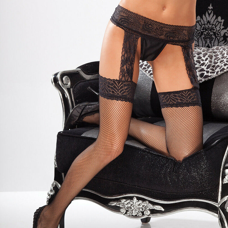 Fishnet Stockings With Lace Top & Garter