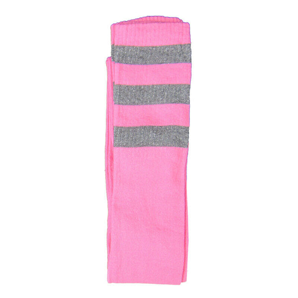 Cotton Blend Three Stripe Thigh High Socks - Leggsbeautiful