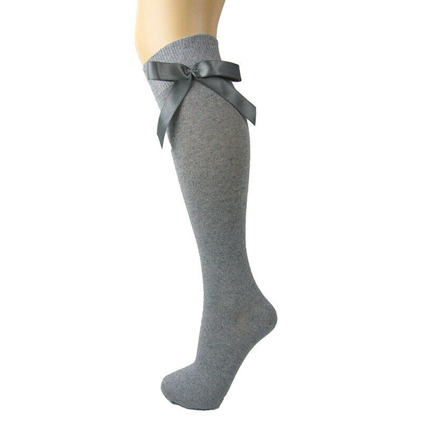 Girls Cotton Blend Knee High School Socks With Satin Bow - Leggsbeautiful