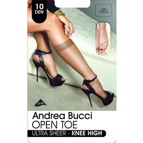 Andrea Bucci 10 Denier Ultra Sheer Open Toe Knee Highs