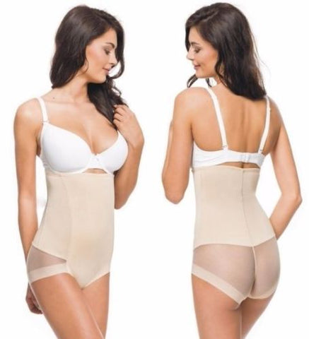 Invisible Firm Control Mesh Paneled Shaper With Thong - Leggsbeautiful