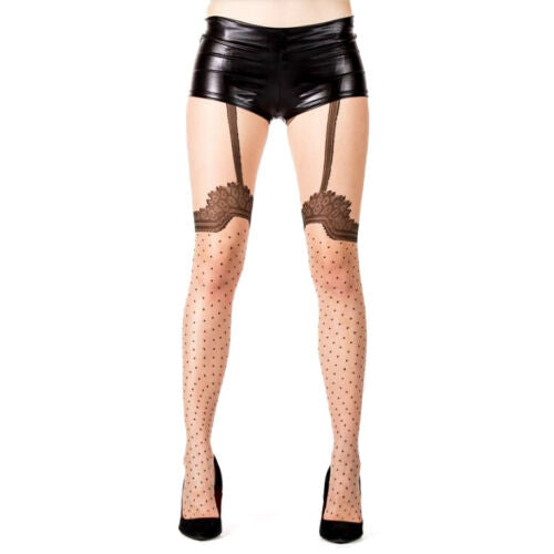 Sheer Mock Stocking Tights With Vintage Print - Leggsbeautiful