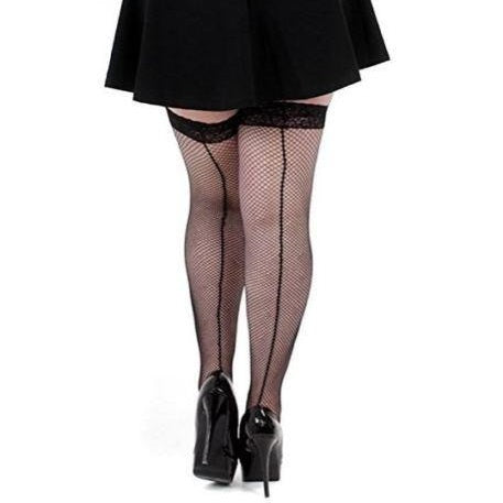 Pamela Mann Plus Size Seamed Lace Top Fishnet Hold Ups - Leggsbeautiful
