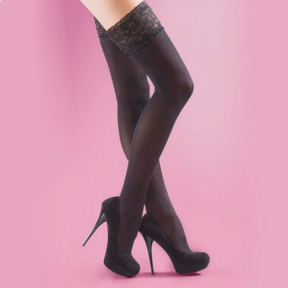 Silky 40 Denier Lace Top Opaque Hold Ups