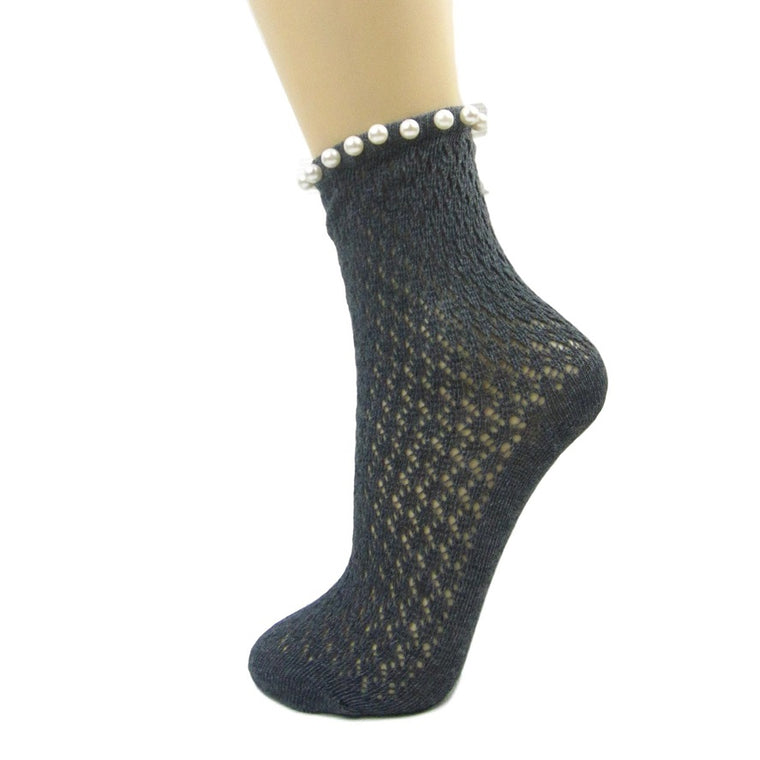 Crochet Ankle Socks With Single Pearl Trim