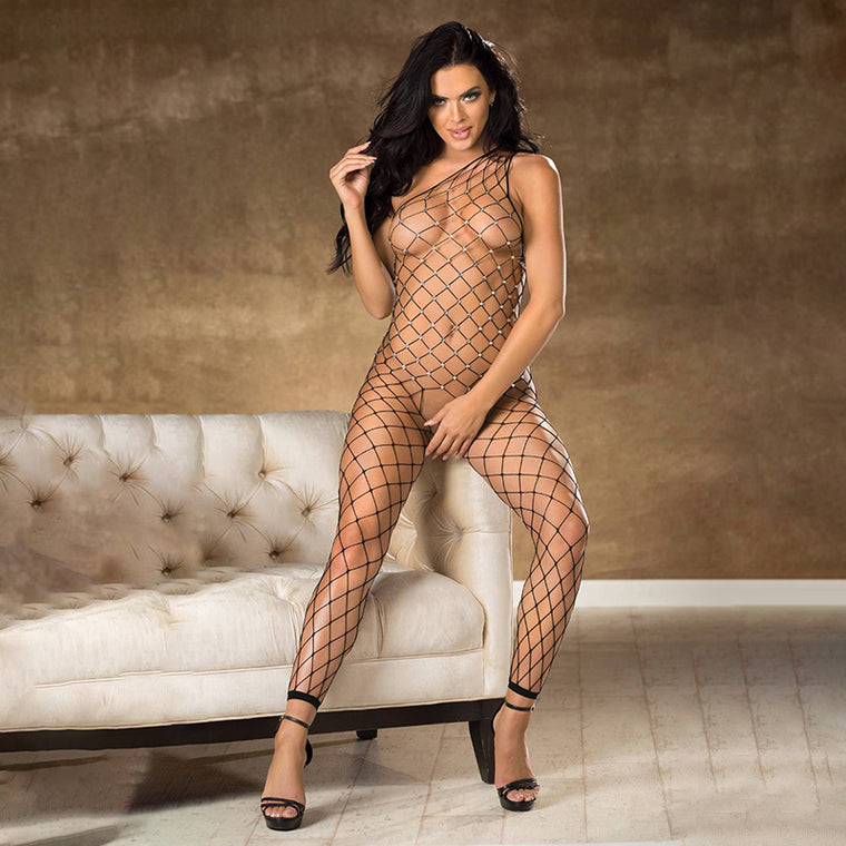 Shirley Of Hollywood Fence Net Rhinestone Bodystocking