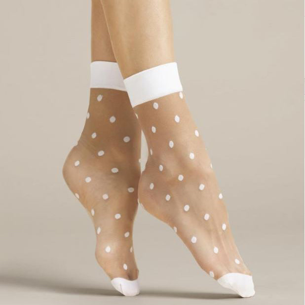 Fiore Papavero Sheer Dots Nylon Ankle Socks