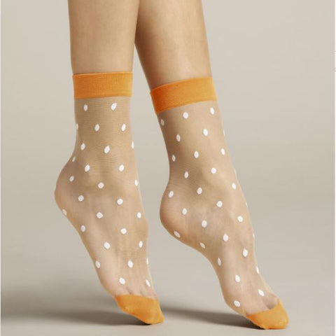Fiore Papavero Sheer Dots Nylon Ankle Socks - Leggsbeautiful