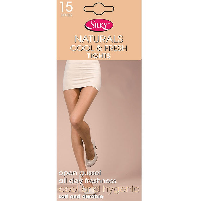 Silky Naturals 15 Denier Cool and Fresh Open Gusset Tights