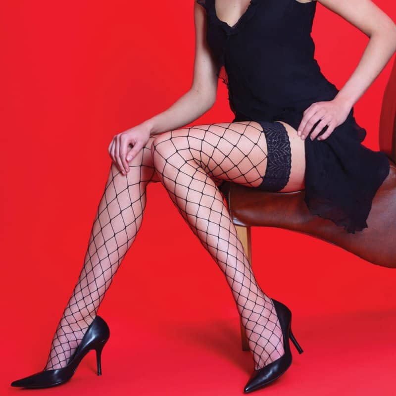 Silky Scarlet Lace Top Whale Net Hold Ups