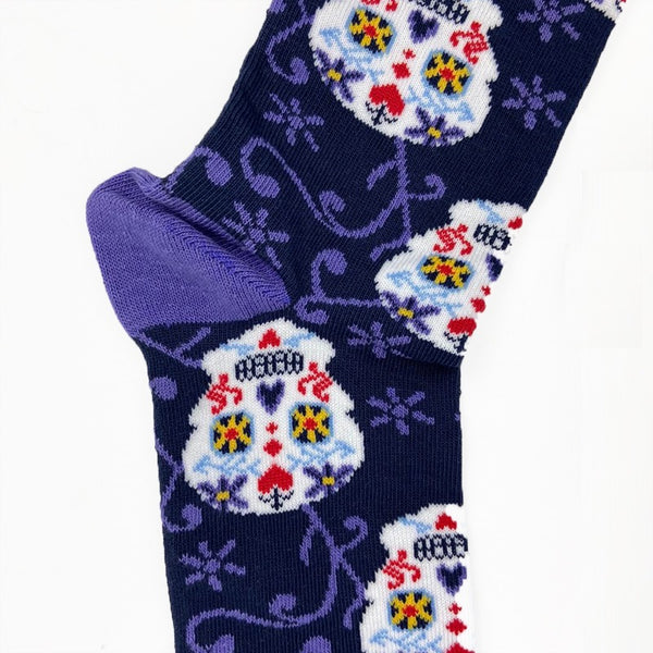 Woman's Cotton Blend Day of the Dead Skull Ankle socks