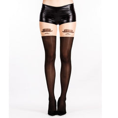 Top Hat & Tache Over The Knee Tights