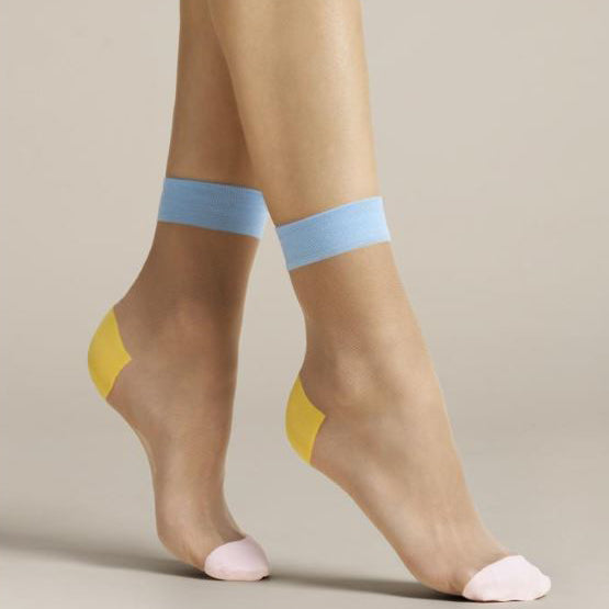 Fiore Sheer Tri-Colour Nylon Ankle Socks