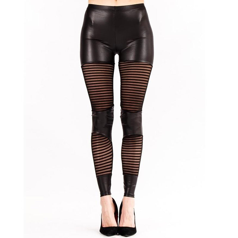 Wet Look Stripe Mesh Panel Leggings - Leggsbeautiful