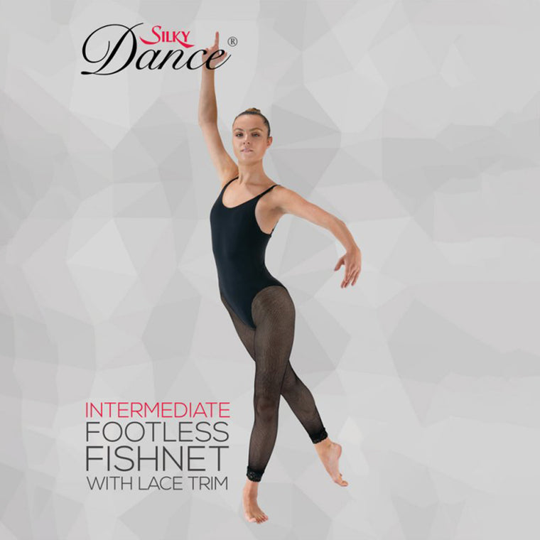 Silky Intermediate & Adult Lace Trim Fishnet Footless Dance Tights