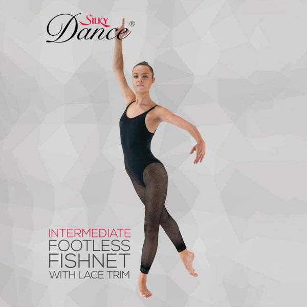 Silky Intermediate & Adult Lace Trim Fishnet Footless Dance Tights - Leggsbeautiful