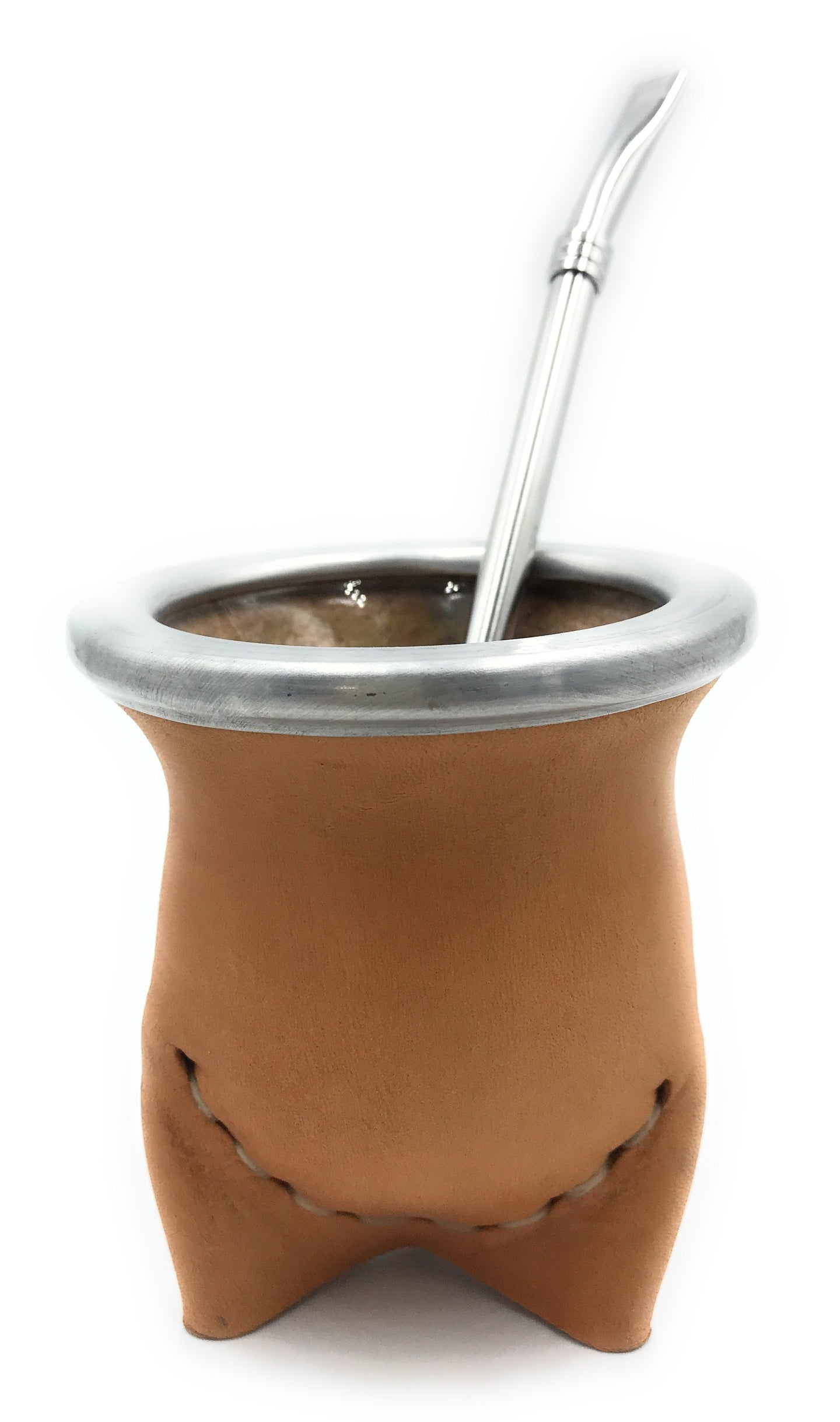 Mate Set Vaqueta Leather & Glass + stainless steel straw
