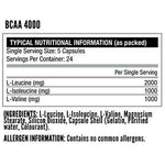 Nutritech BCAA 4000 Capsules ingredient list