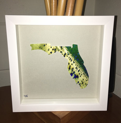 FISHY FLORIDA MAP ART- Mahi/Dorado/Dolphin