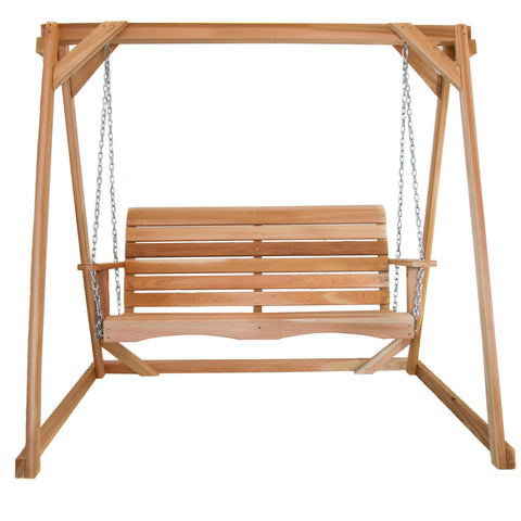 Porch Swing with Stand - 4' Red Cedar Swing - Main Street Furniture Outlet