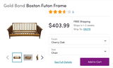 Boston Solid Cherry Oak Full Futon Frame - Main Street Furniture Outlet