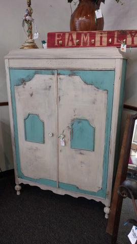 Blue and White Armoire - Main Street Furniture Outlet