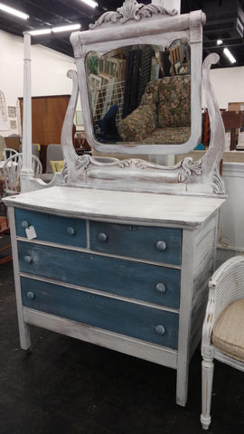 White/Blue Antique Dresser - Main Street Furniture Outlet