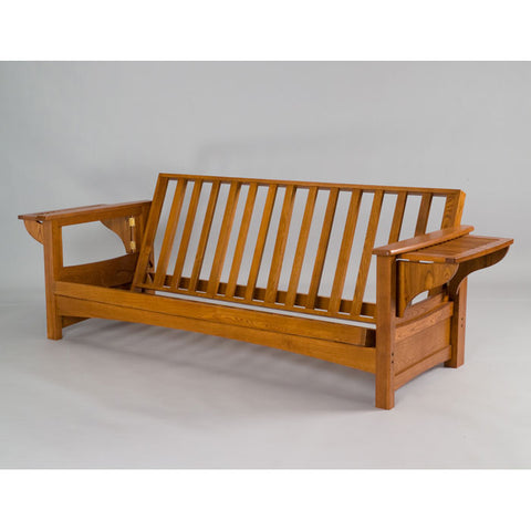 Burlington Cherry Oak Full Futon Frame with Arms - Main Street Furniture Outlet