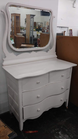 Country White Dresser with Mirror - Main Street Furniture Outlet